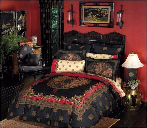 Black Amp Red Oriental Asian Dragon 8p King Size Comforter
