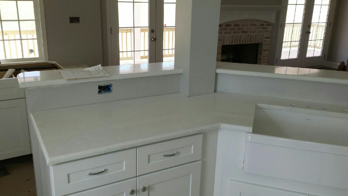 celeste lg viatera quartz kitchen countertop and bathroom vanity install for the roman family knoxvilles - Bathroom Cabinets Knoxville Tn