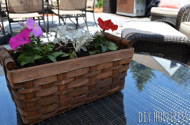 DIY Huntress: DIY Wicker Basket Flower Box