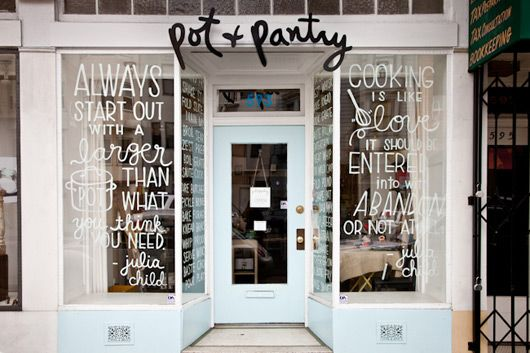 Too much, but interesting typeface. Pot and Pantry | San Francisco