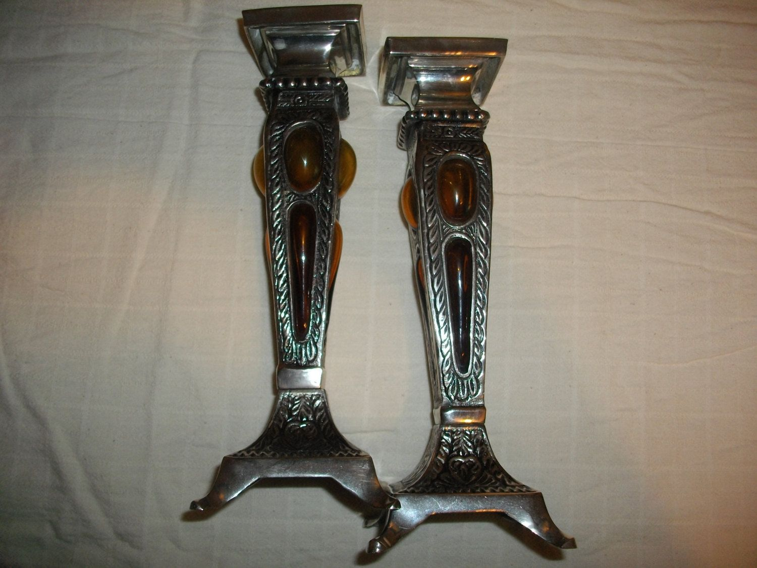 Unique Silver Candlestick Holders by TheKitchenandMore on Etsy