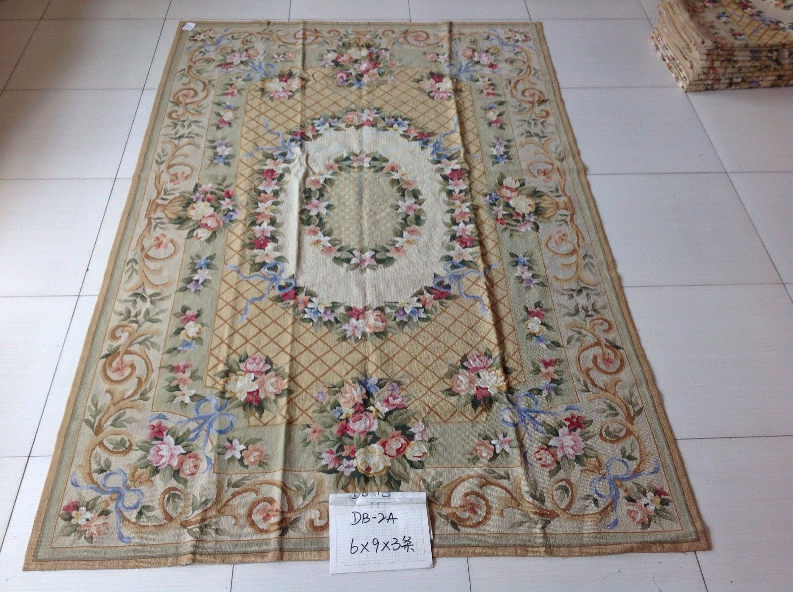French Aubusson Design Needlepoint Rug Mint Light Gold So Beautiful