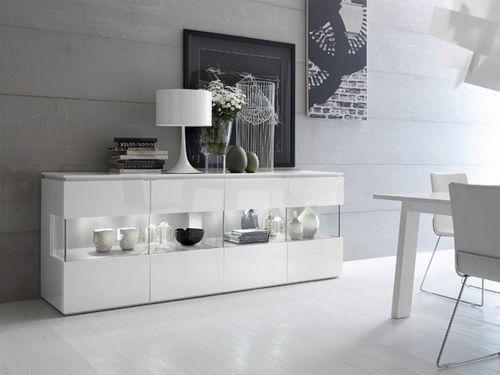 Credenza Moderna Con Alzata : Credenza moderna in legno vetro laccato trilocy