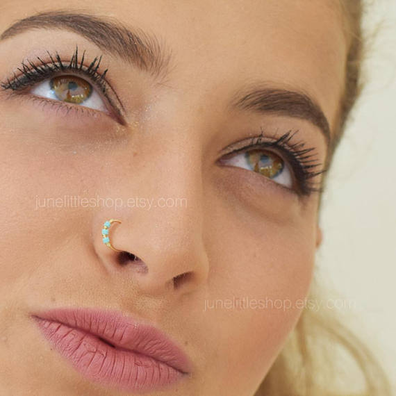 Turquoise Nose Ring Nose Hoop Thin Nose Ring Gold Nose Ring