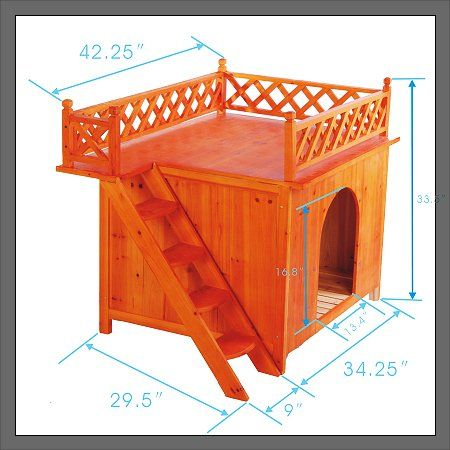 New Raised Wooden Dog Kennel House With Roof Deck In Dogs From
