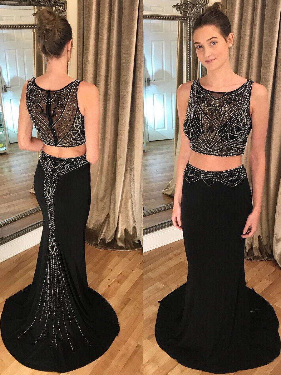 Two piece prom dresses trumpet mermaid long black prom dress jkl