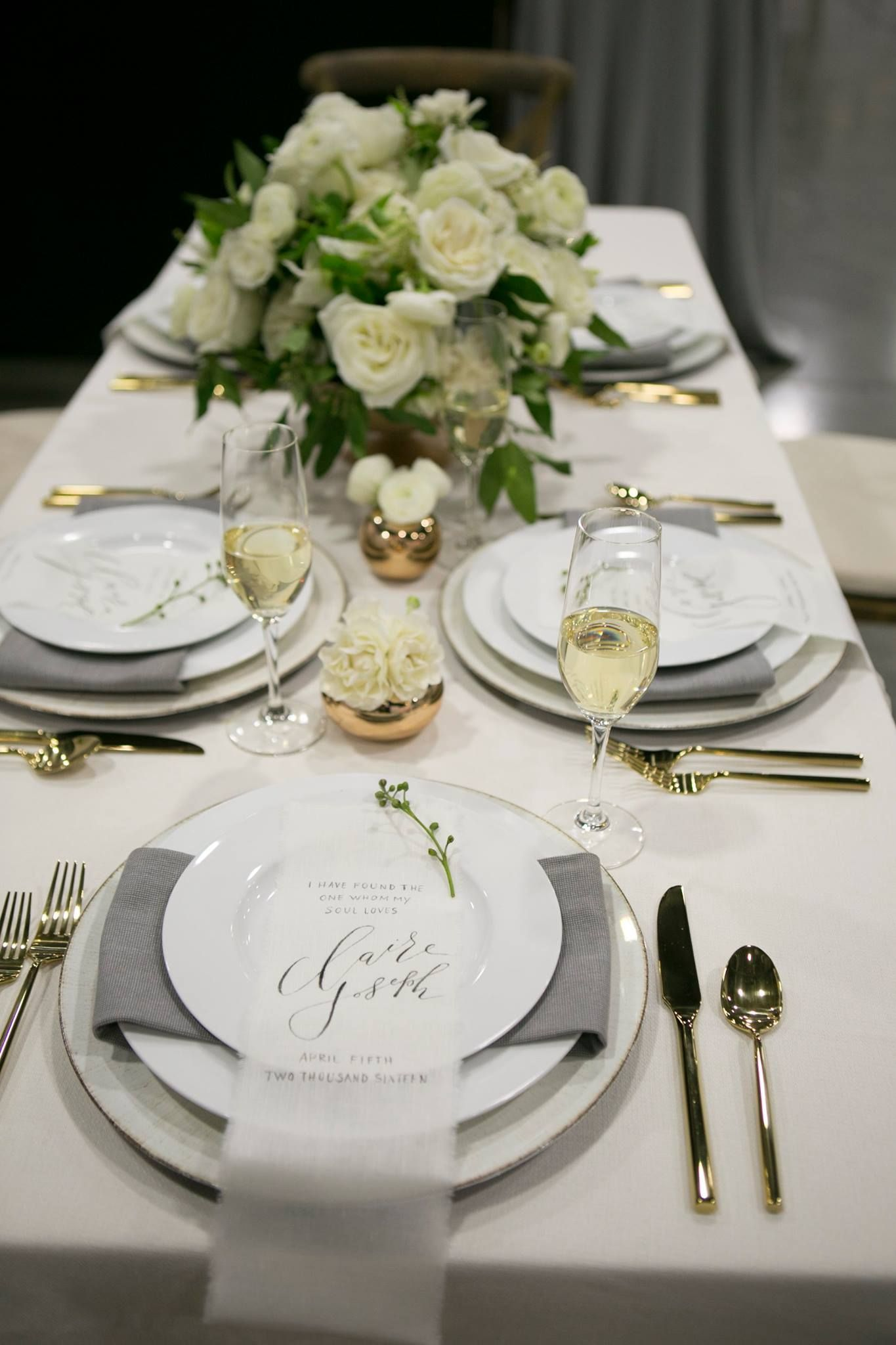 Elegant White Table Setting By Stem Floral Design Wedding Dinner
