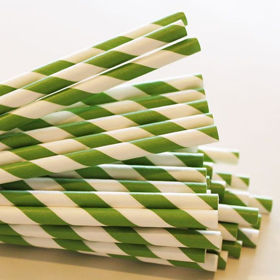 Finn  75 Kelly Green Striped Paper Straws Drinking by ThePartyFairy, $12.00