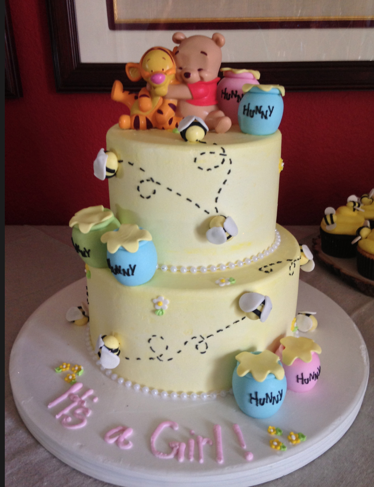 Custom 2 Tiered Winnie The Pooh Cake For Baby Shower Yelp Cakes