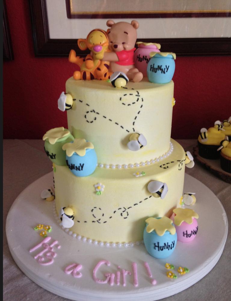 Elegant Custom 2 Tiered Winnie The Pooh Cake For Baby Shower! | Yelp