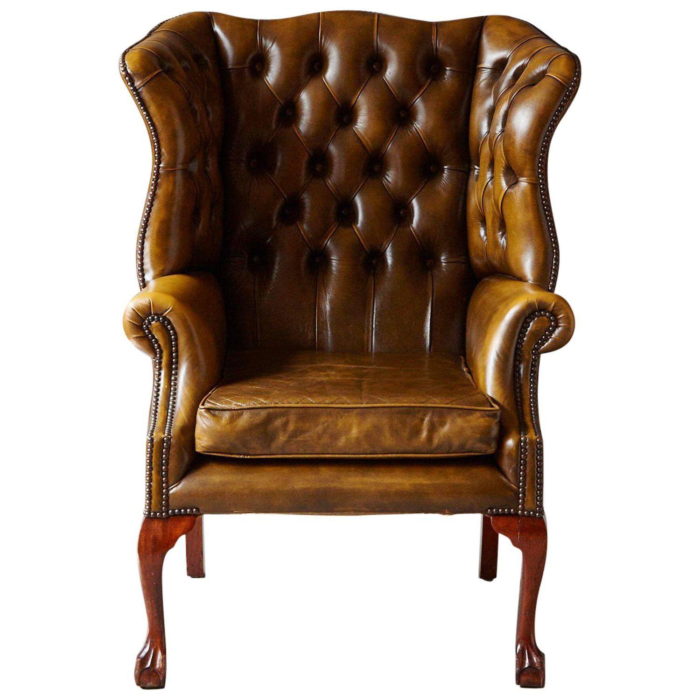 Buckingham walnut burnished leather wingback chair by