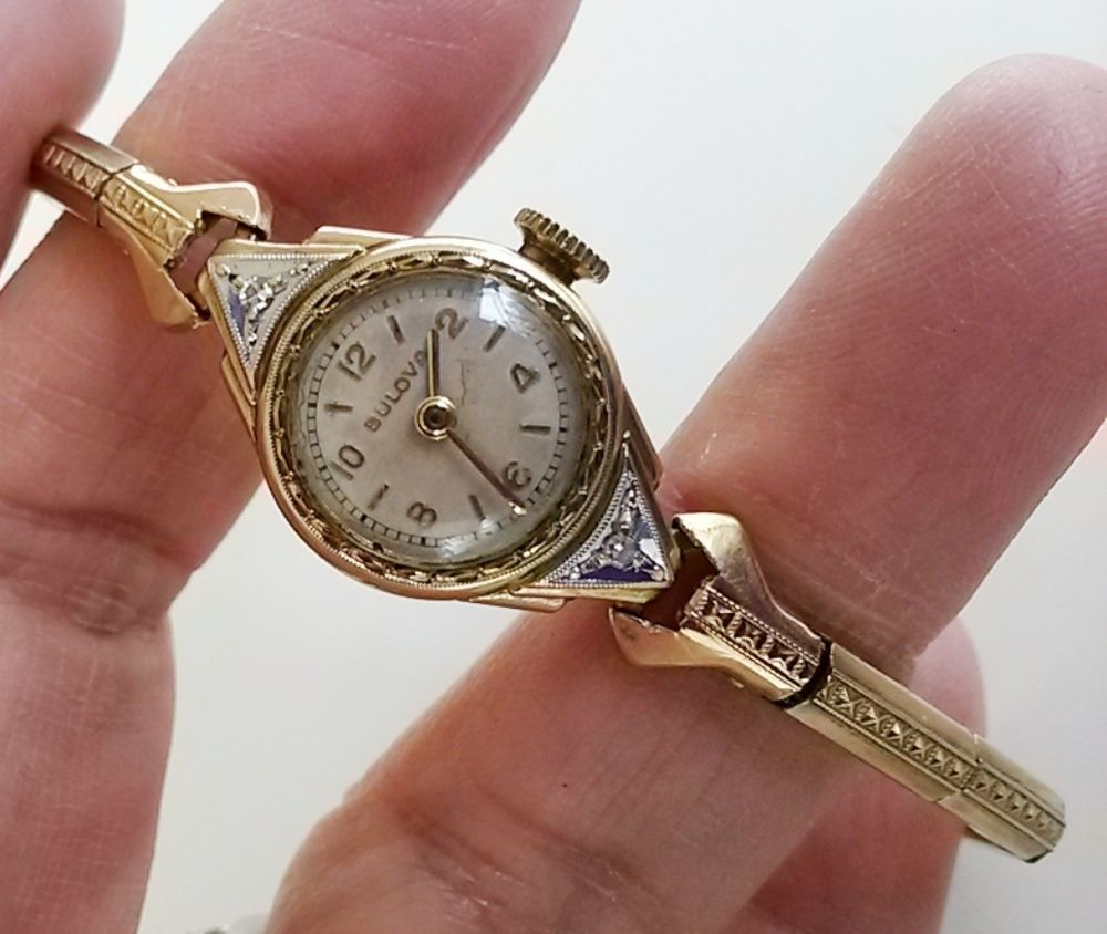 Bulova 10k Gold Filled 6az Art Deco Ladies 17j Wrist Watch Diamond Accents Tlc Vintage Watches Women Diamond Watch Art Deco Jewelry