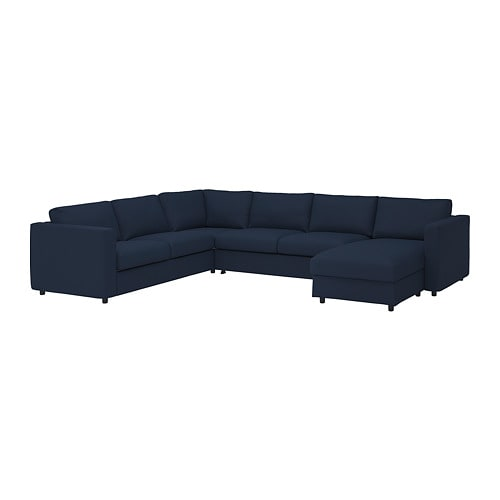 Vimle Cover For Corner Sofa Bed 5 Seat With Chaise Longue Grasbo Black Blue Corner Sofa Sofa Bed Sofa Back Cushions