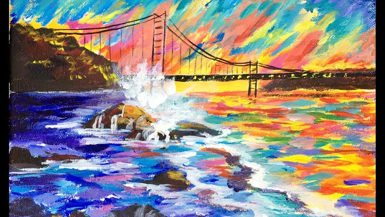 Abstract Golden Gate Bridge For Beginner Acrylic Artists With Ginger Cook Youtube Water Painting Landscape Art Painting