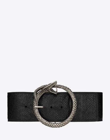 Saint Laurent Serpent Saint Laurent Buckle Belt In Black Salmon Skin And Brushed Silver Toned Metal Ysl Com