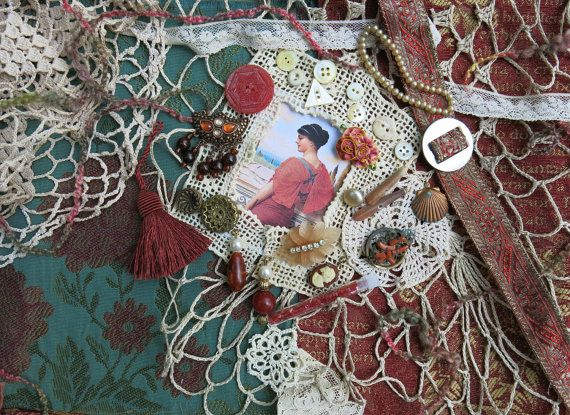 Vintage Textile Art Kit OOAK  Coral & Teal  ~By GypsyFeather