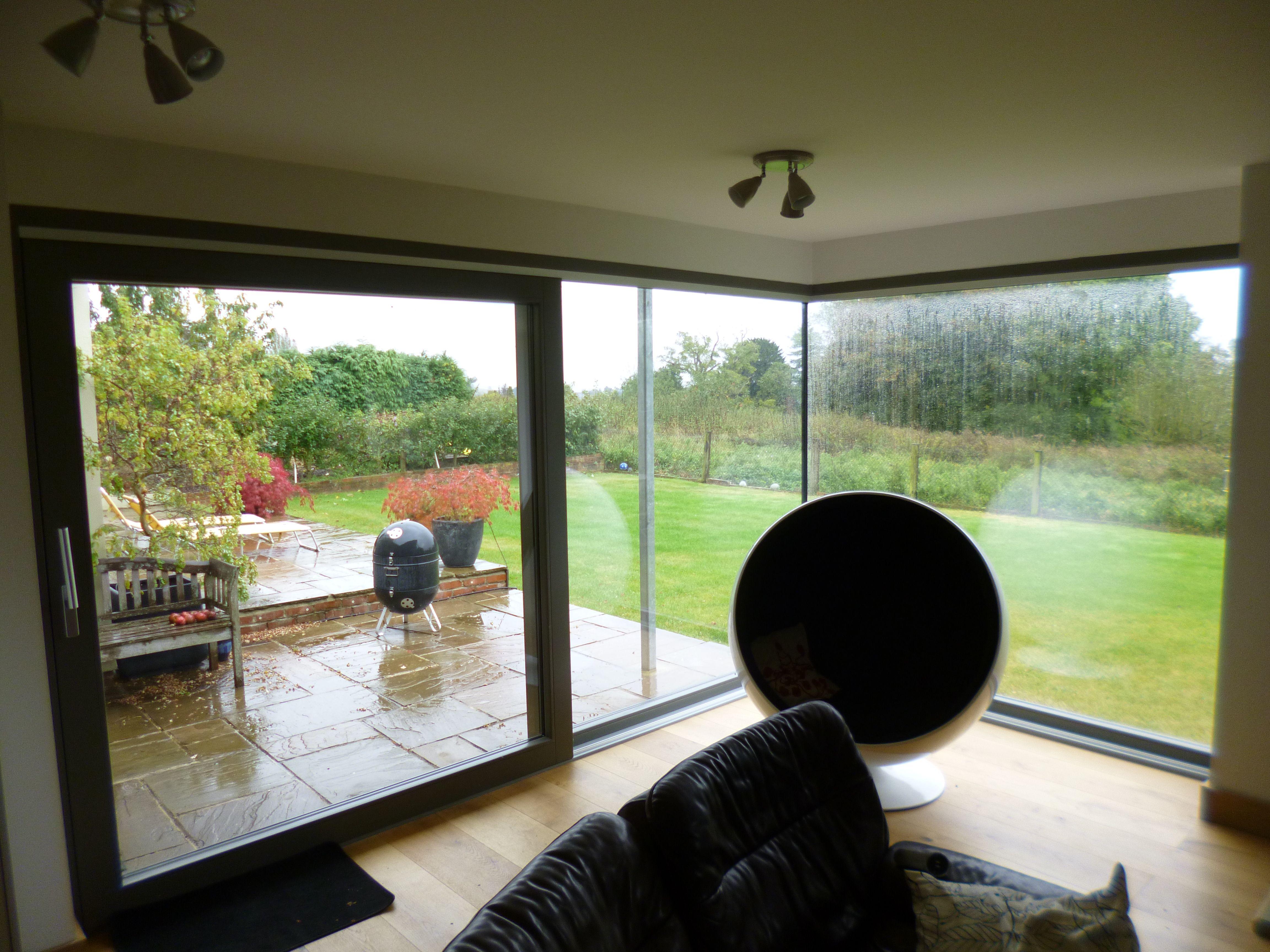 Glass To Glass Corner Window Sliding Door Alu Timber Composite Timber Windows Windows Corner Window