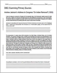 Andrew Jackson On Indian Removal 1830 Free Printable Dbq