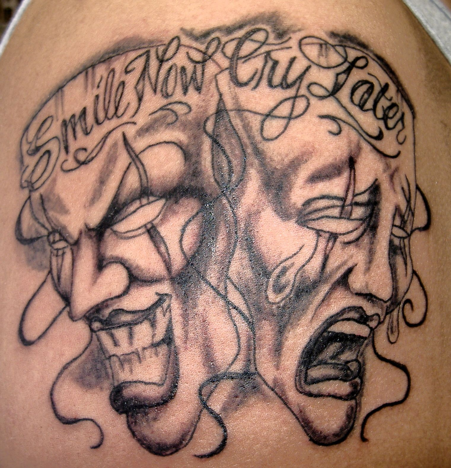 Simple Smile Now Cry Later Tattoo Designs The Last Of My Laugh Now