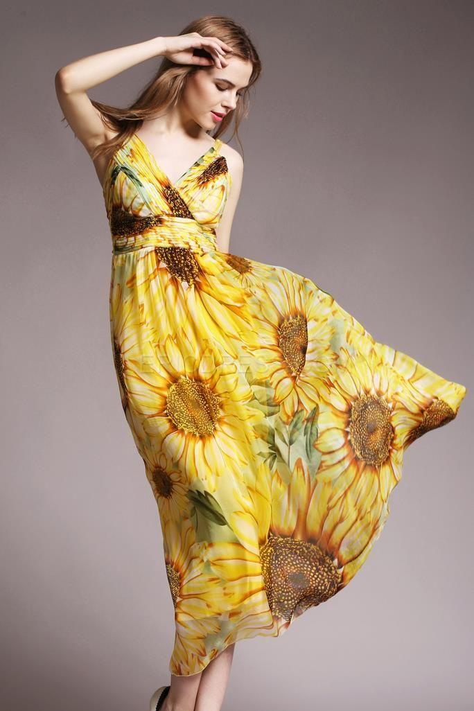 $ 46.29 Ericdress Floral V Neck Maxi Dress   Sommer ...