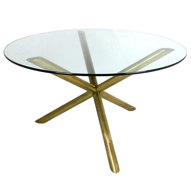 Italian Brass Tripod Dining Table from 1st dibs. A glass round dining table for 4 perfect for modern dining room sets in small spaces.