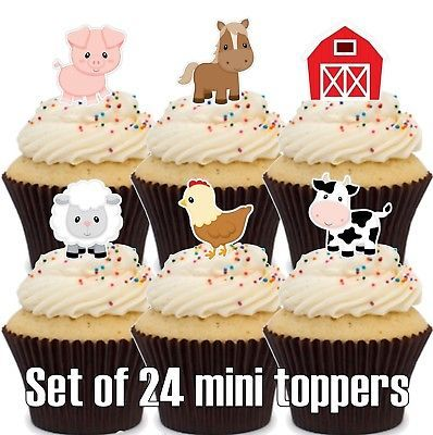 Woodland animals Edible Cupcake Toppers Baby Shower First Birthday 1st #422