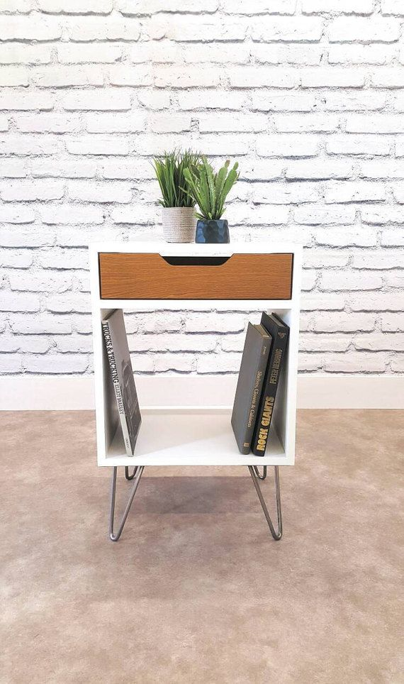 Modern Nightstand Record Player Stand Bedside Table White End