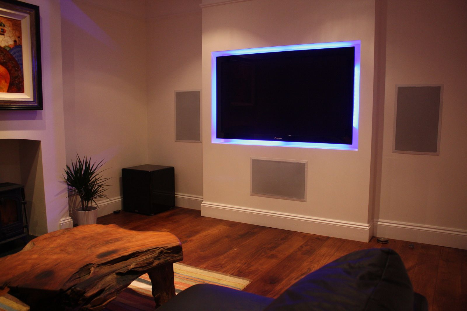 Tv False Chimney With Backlighting Theatre Room In 2019