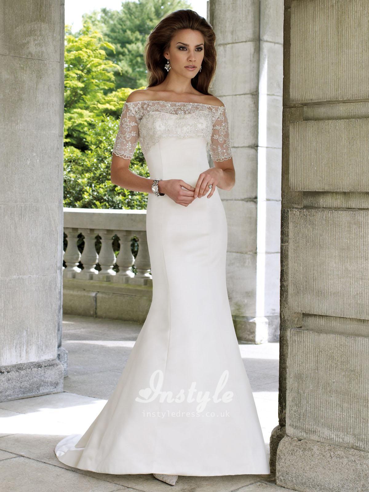 Trumpet style wedding dresses  Twopiece Satin Strapless Mermaid Wedding Dress UK with Offthe