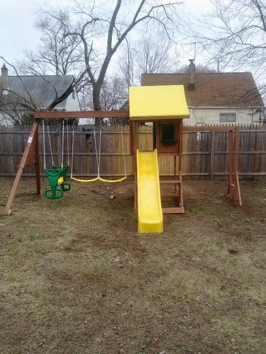 Big backyard cedarbrook playset from toys r us installed for Wooden swing set with bridge