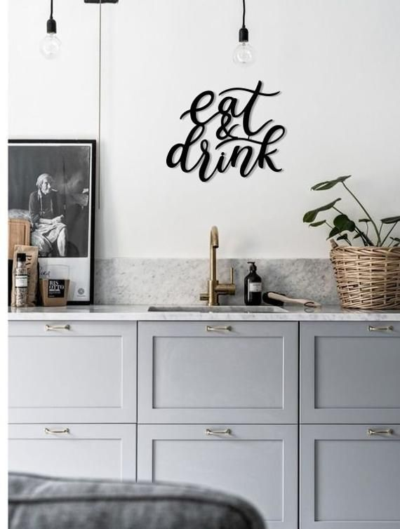 Eat U0026 Drink Metal Word Wall Art Home Decor Hanging Sign Gift Words Letters  Homemade Room Office Funn