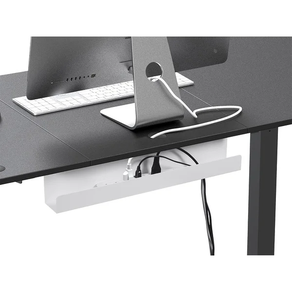 Monoprice Under Desk Cable Tray Steel With Power Supply And Wire