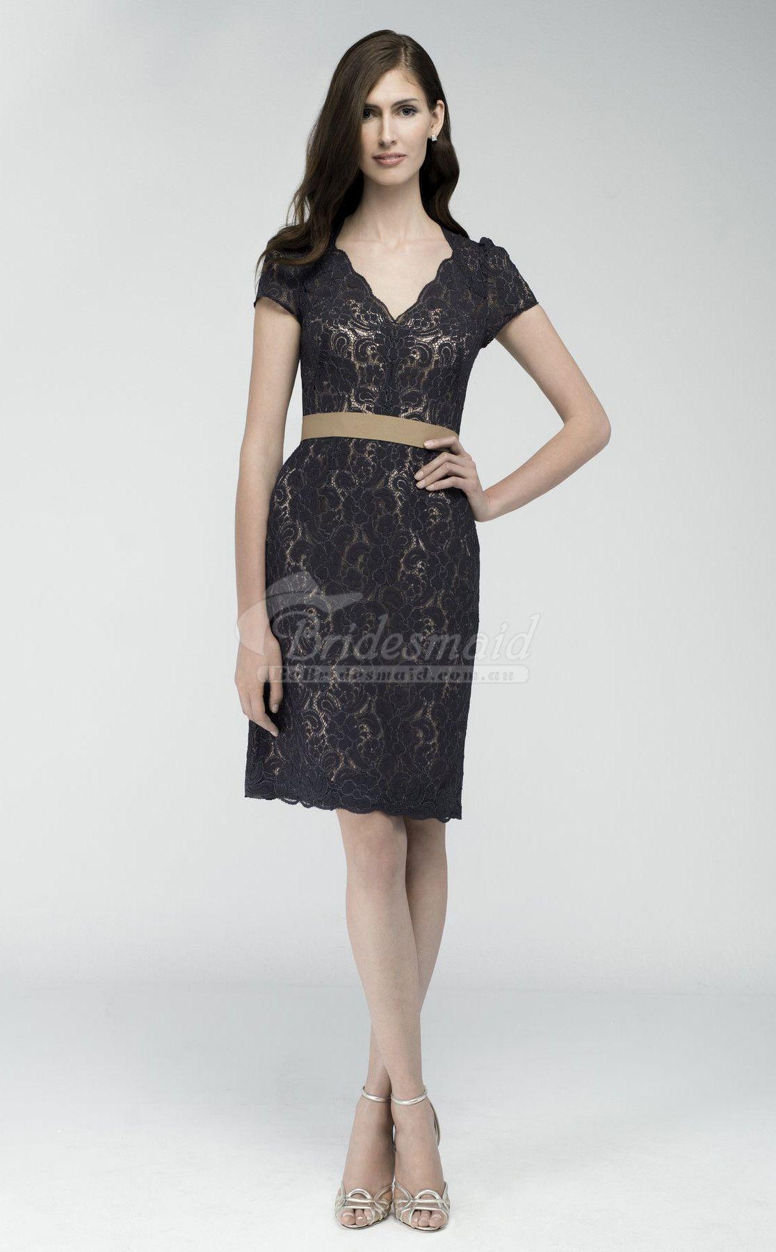 Wedding dresses for black girls  Sheath VNeck Lace Black Bridesmaid Dress with Short Sleeves