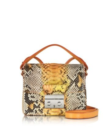 Orange Python and Leather Mini Crossbody Bag