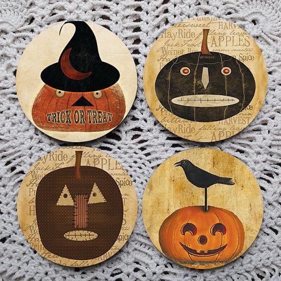 Prim Pumpkins  Primitive Pumpkin Halloween Mousepad coaster set coasters by Polkadotdog