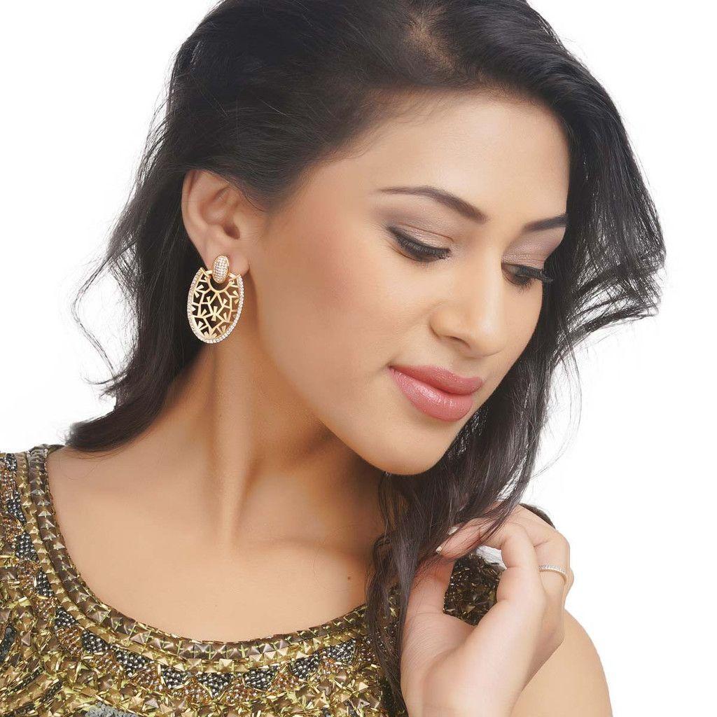 Zircon Earring 58384G #Kushals #Jewellery #Fashion #Indian #Jewellery #Earrings #Designer  #hangings  #modern #unique