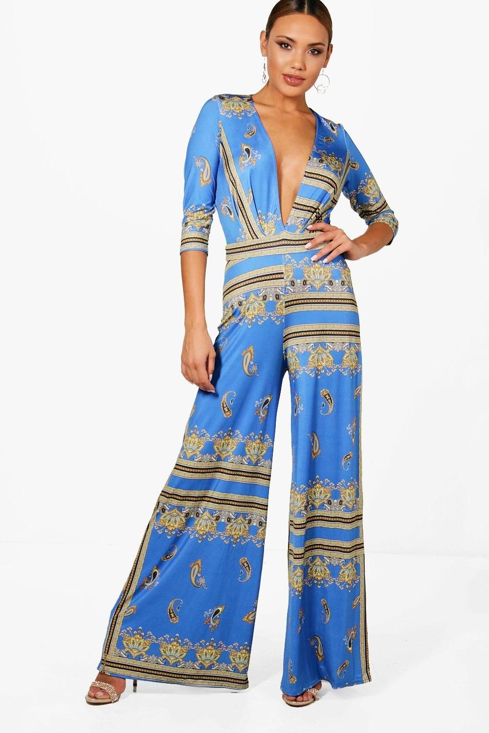 014301f5746 Click here to find out about the Freya Blue Scarf Print Wide Leg Plunge  Jumpsuit from