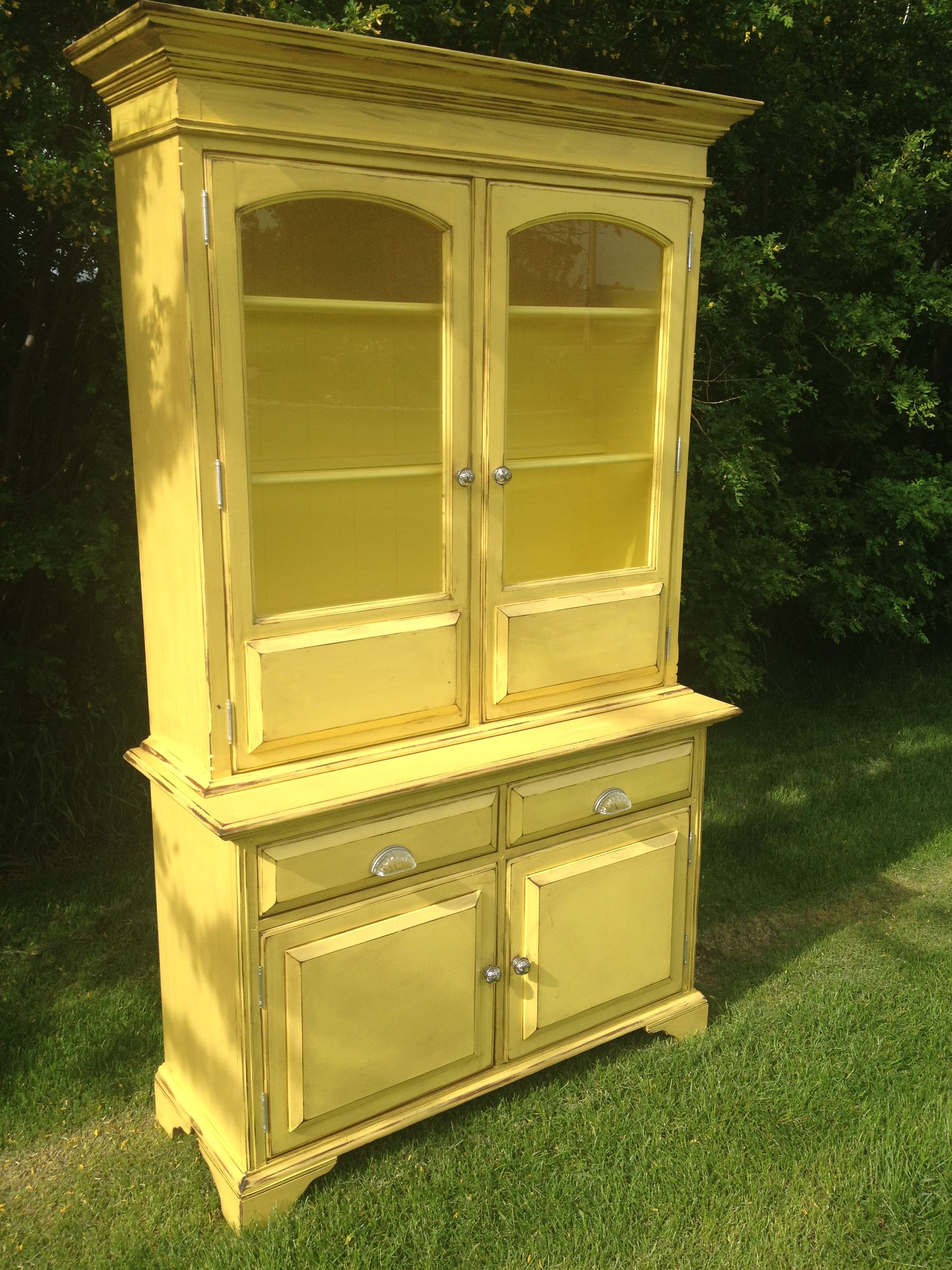 Bright Lemon Yellow China Cabinet. Painted And Distressed. Glass Pulls And  Handles. Search