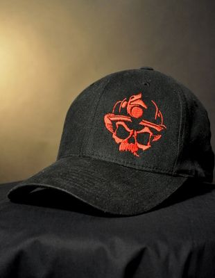 449bd13eb5f Skull Logo Flexfit Hat - Black Red- Black Helmet Firefighter Apparel ...