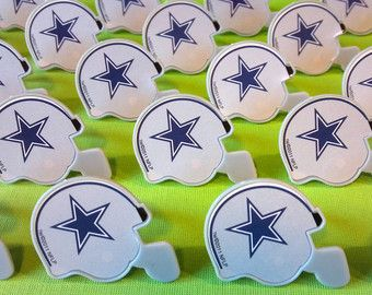 Dallas Cowboys helmet cupcake rings picks cake toppers, football fan birthday, tailgate party, fall sports super bowl, team bachelor