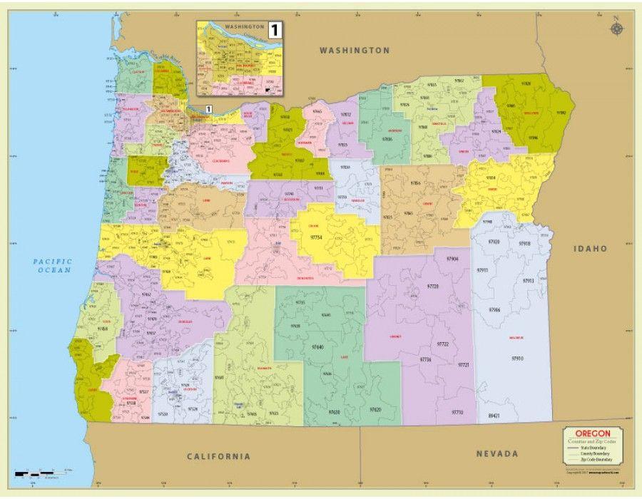 Buy printed oregon zip code map with counties zip code map