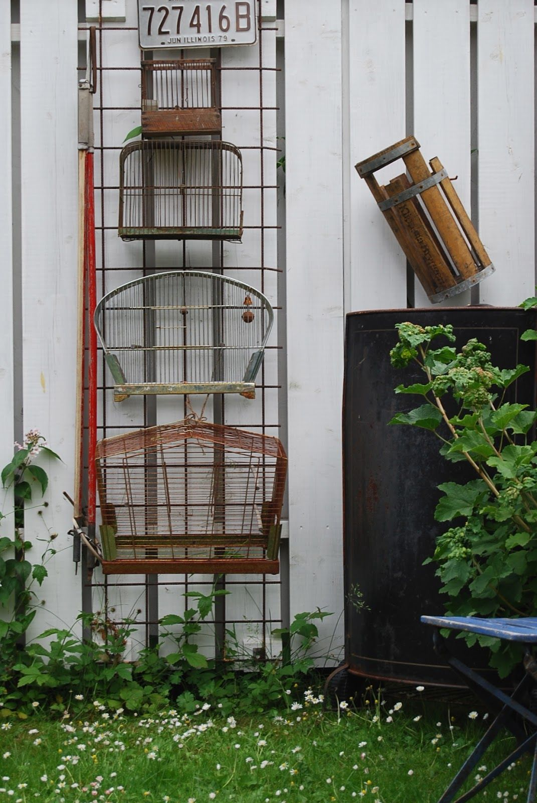 Bird Cages Outside Whitewashed Chippy Shabby Chic French Country Rustic Swedish decor idea