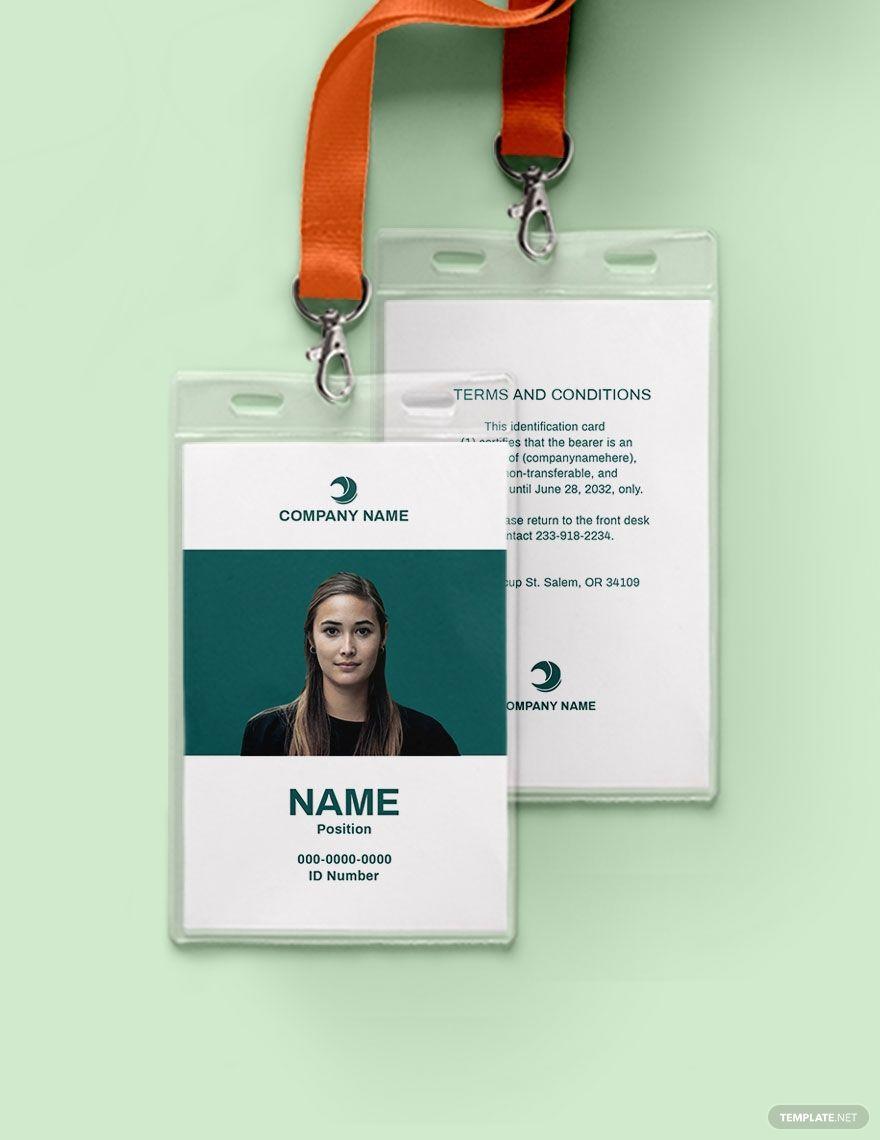Blank employee id card template ad paid employee