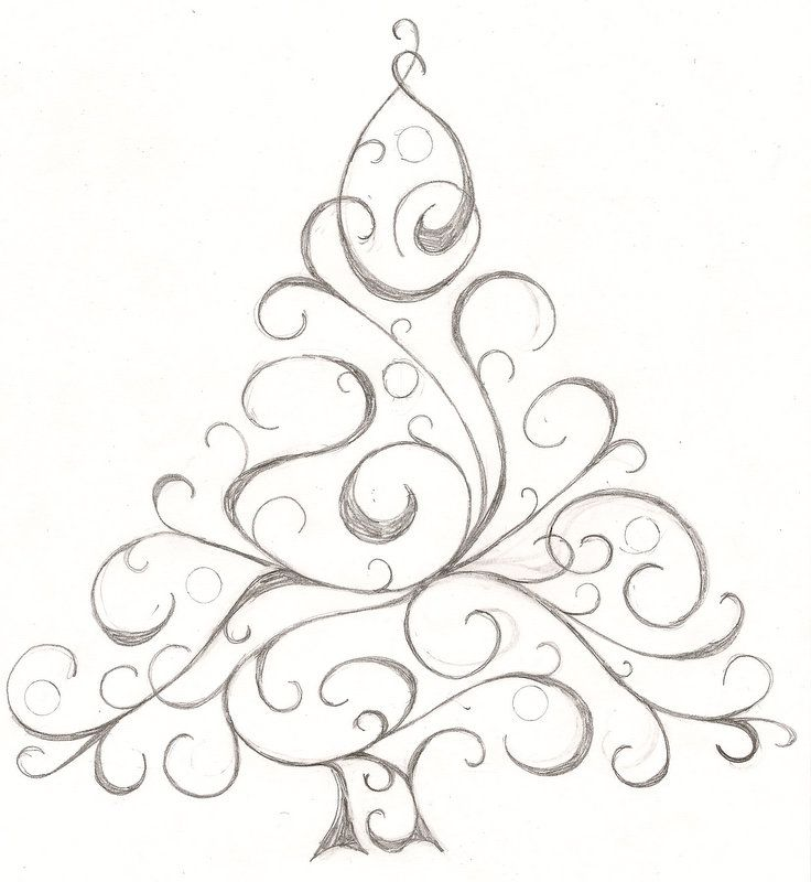 Sketch of a Christmas tree. I might use it for cards this year | Christmas tree sketch ...