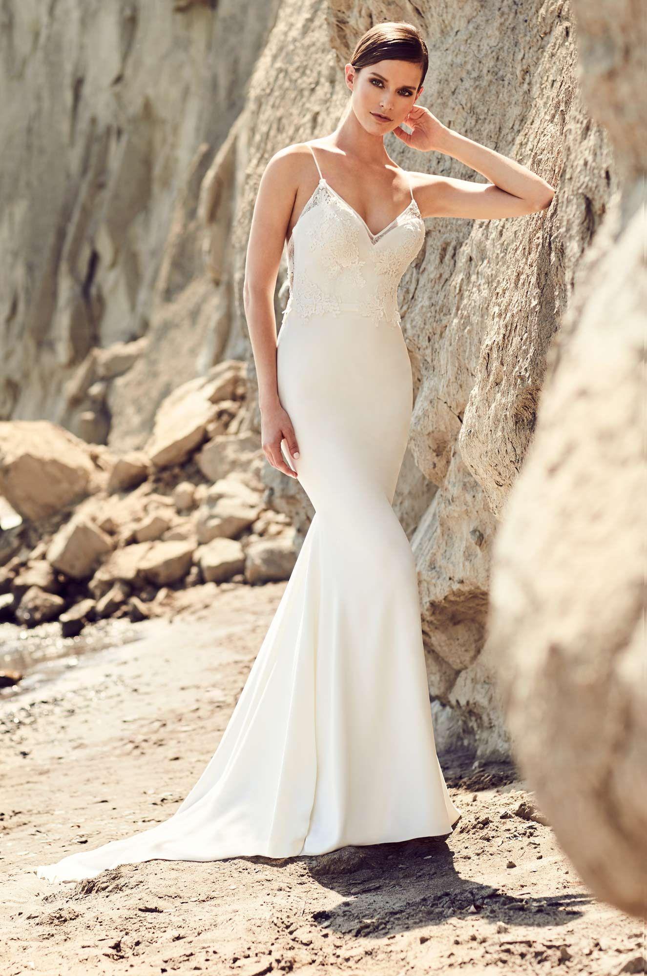 Embroidered Neckline Wedding Dress - Style #2102 | Belt tying ...