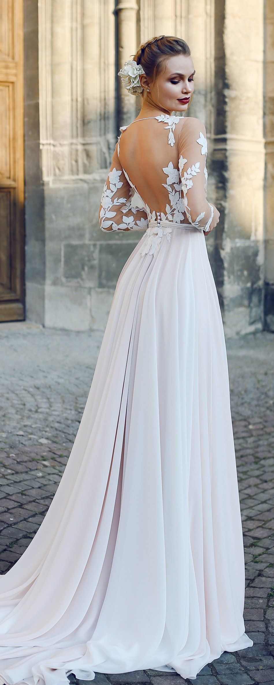 Aline backless wedding dress filisi with long train by ange etoiles