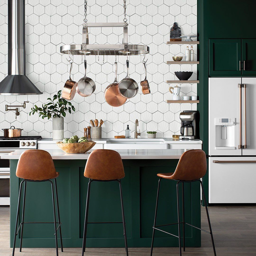 "Wayfair on Instagram: ""Emerald-green island + white appliances +"