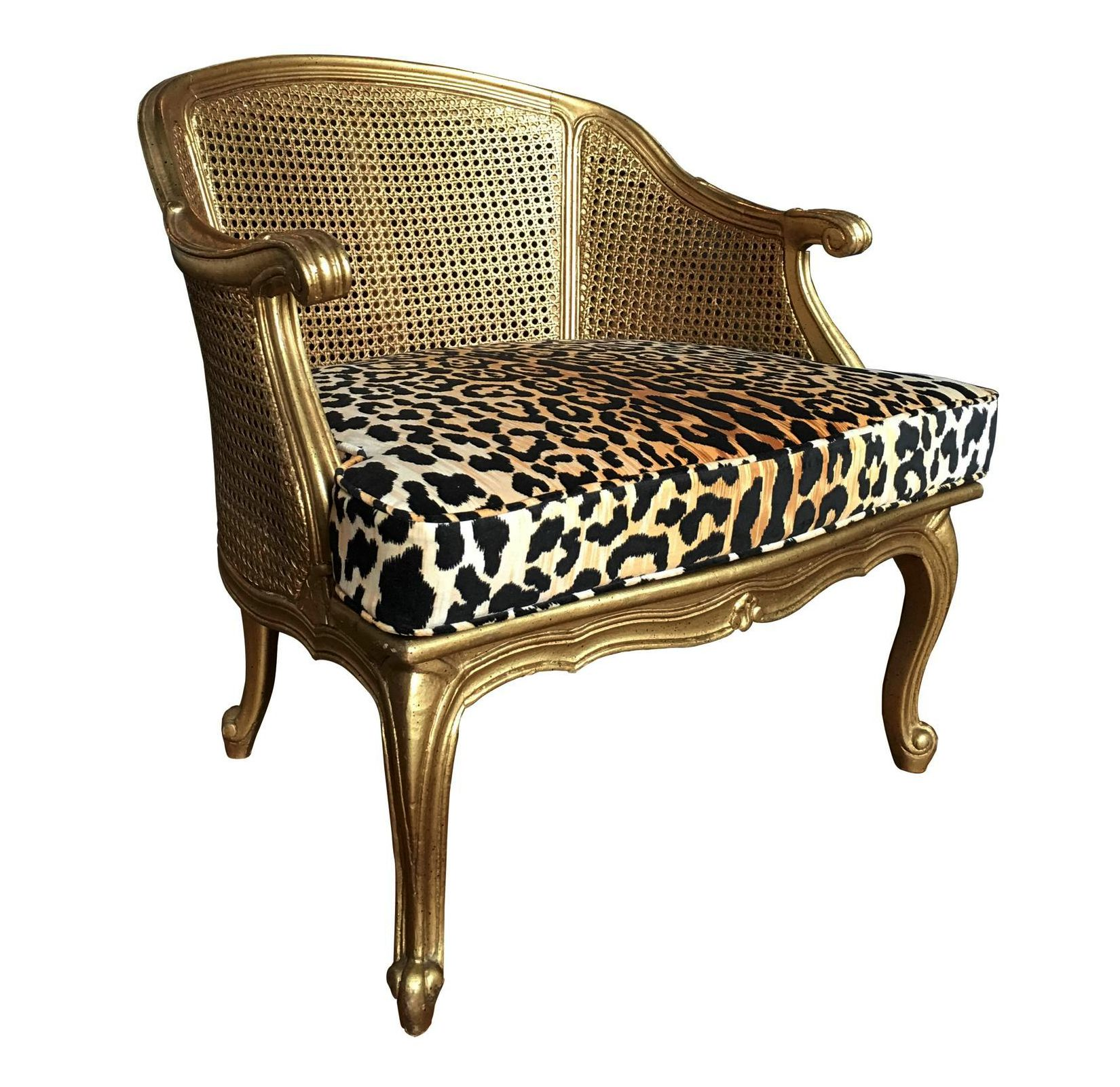 French style arm accent chair with gold painted frame curved