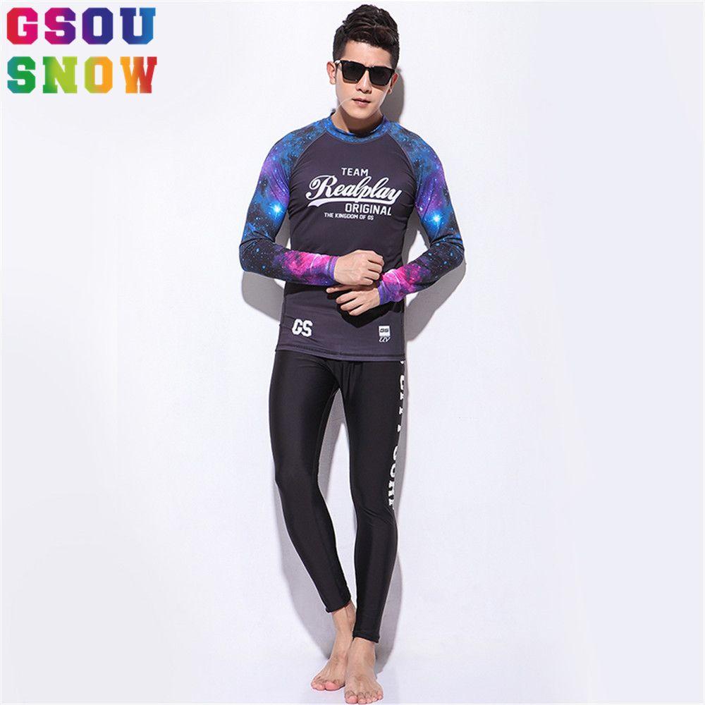 18f25bd978 Gsou Snow Brand Diving Suit Rash Guard Men Long Sleeve Diving Spearfishing  Wetsuit Surf Snorkel Swimsuit