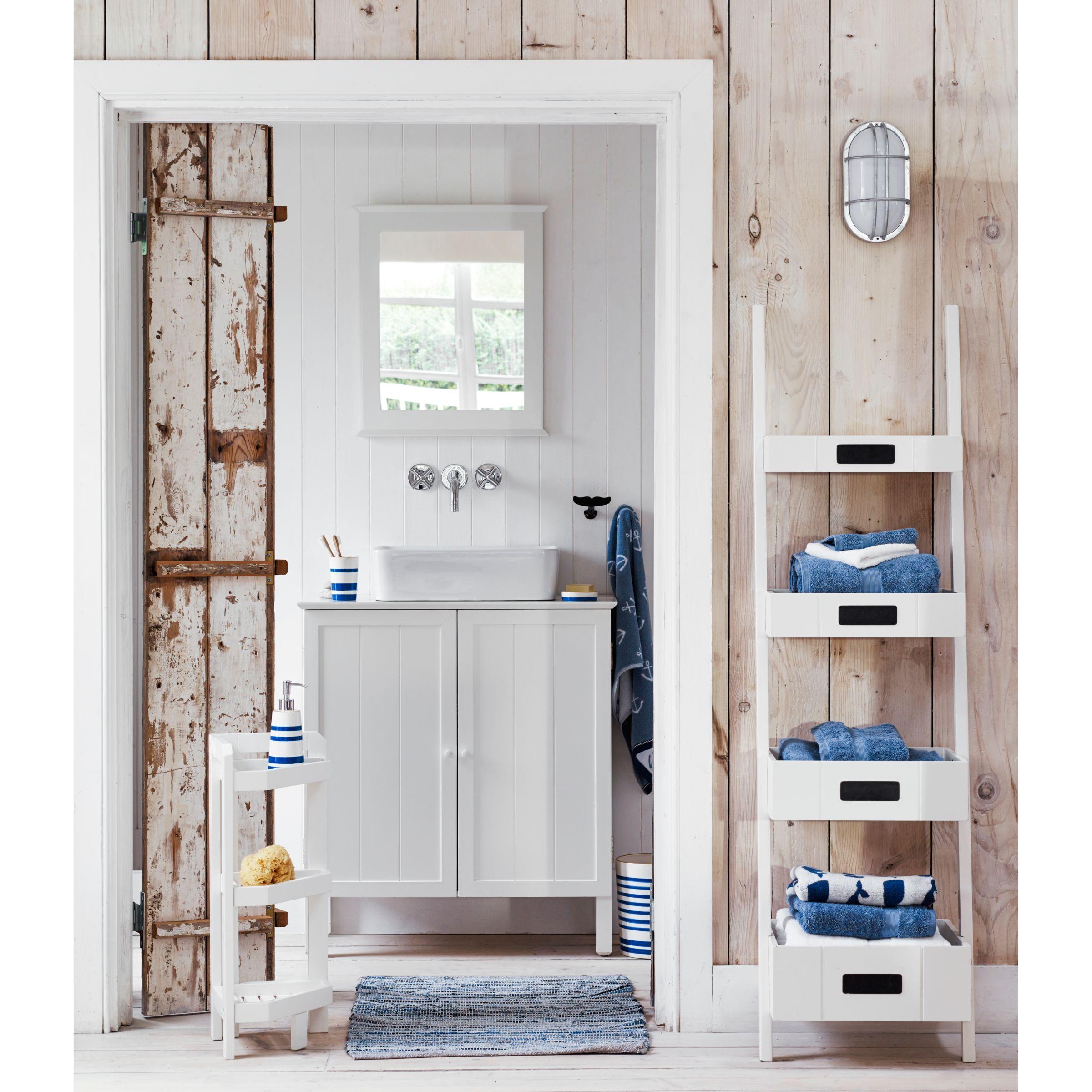 John Lewis Partners St Ives Ladder Shelf White Bathroom Corner Unit Slatted Shelves Corner Ladder Shelf
